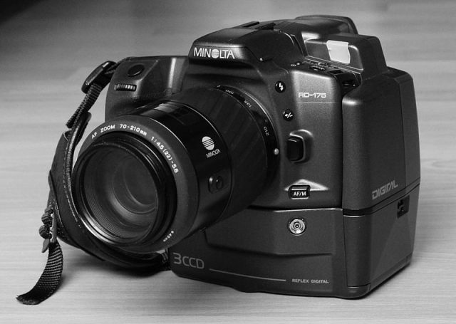 The first portable digital SLR camera, introduced by Minolta in 1995.