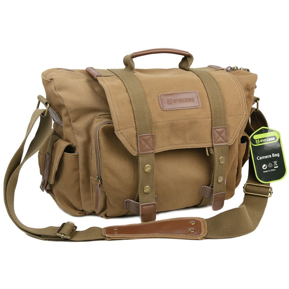 Evecase Large Canvas Messenger DSLR Digital Camera Bag - Brown