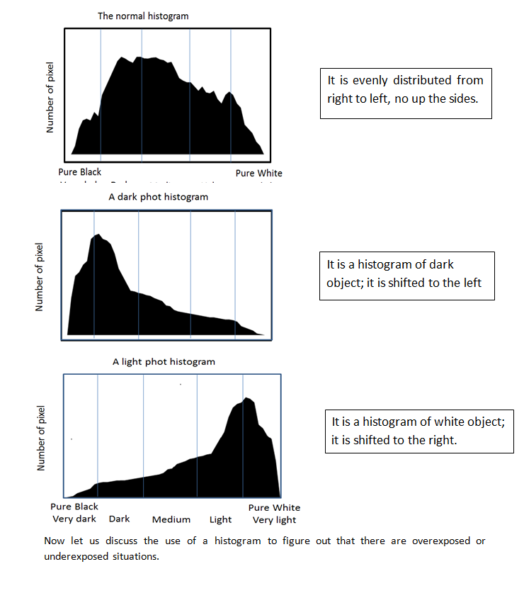normal, dark and white histograms