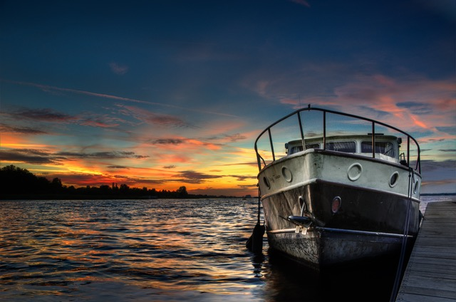 HDR photo of boat and sun raise