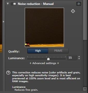 DXO noise reduction menu