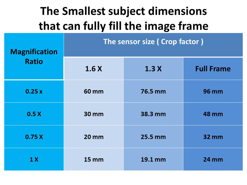 smallest subject dimensions