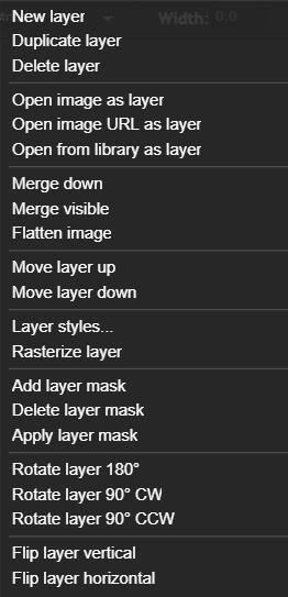 pixlr - layer menu