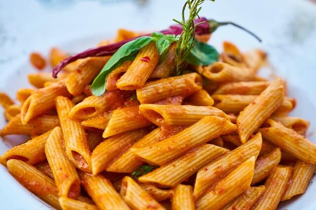 close-up of pasta