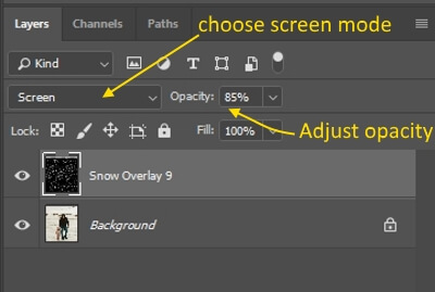 blend mode menu