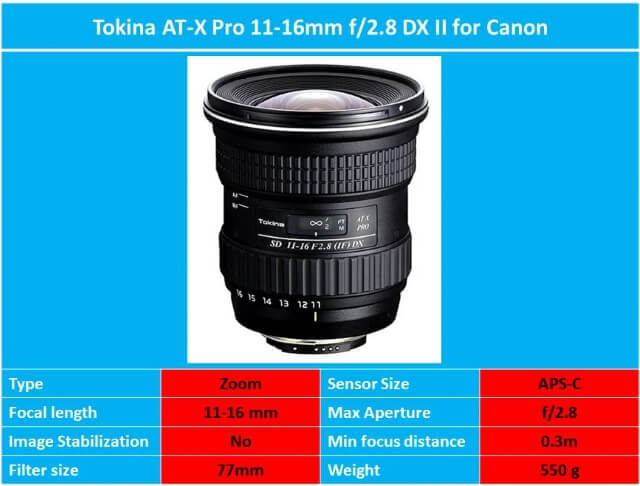 Tokina AT-X Pro 11-16mm f/2.8 DX II for Canon