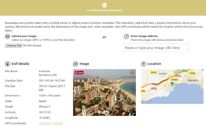read EXIF data online