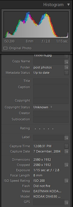 Lightroom menu EXIF