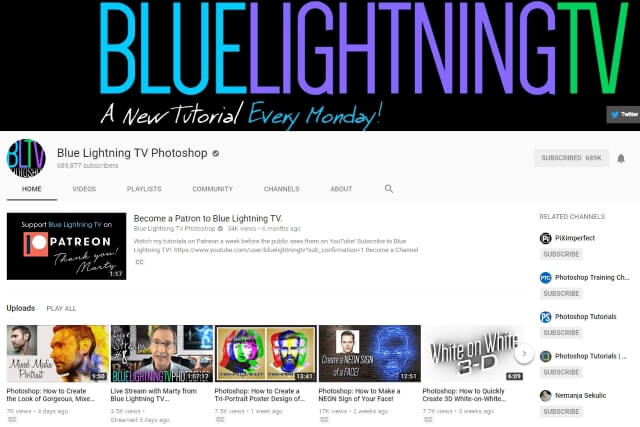 Blue Lightning TV Photoshop