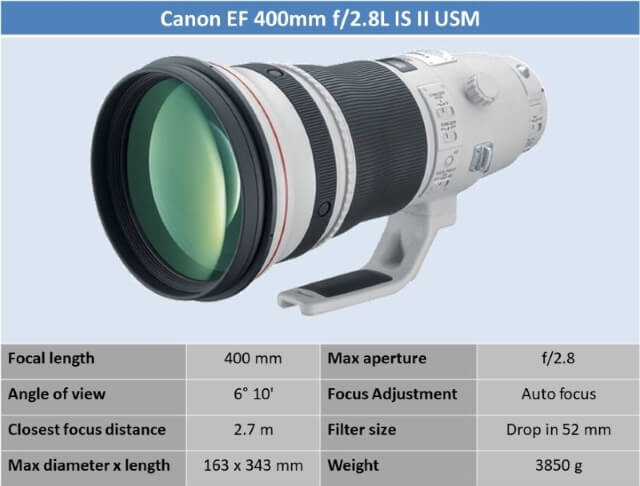 Canon EF 400mm f/2.8L IS II USM Lens