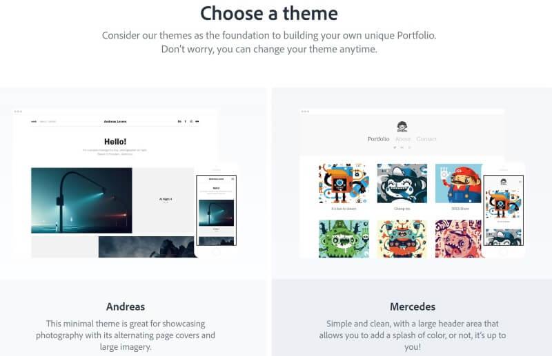 Adobe Portfolio menu