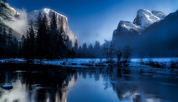 Mountain at the blue hour