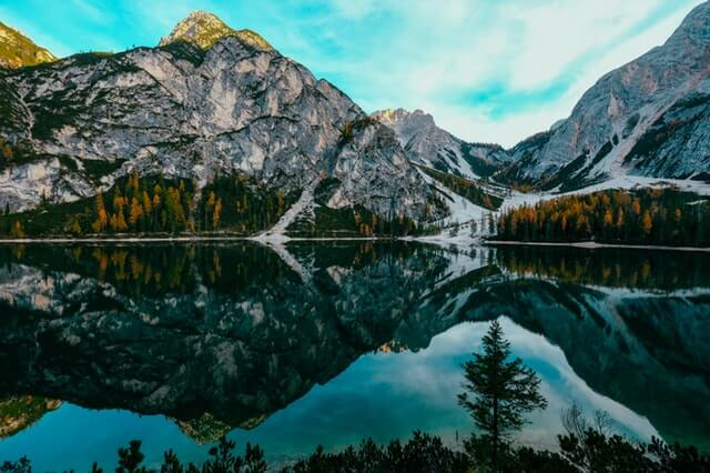 water reflections of a mountain