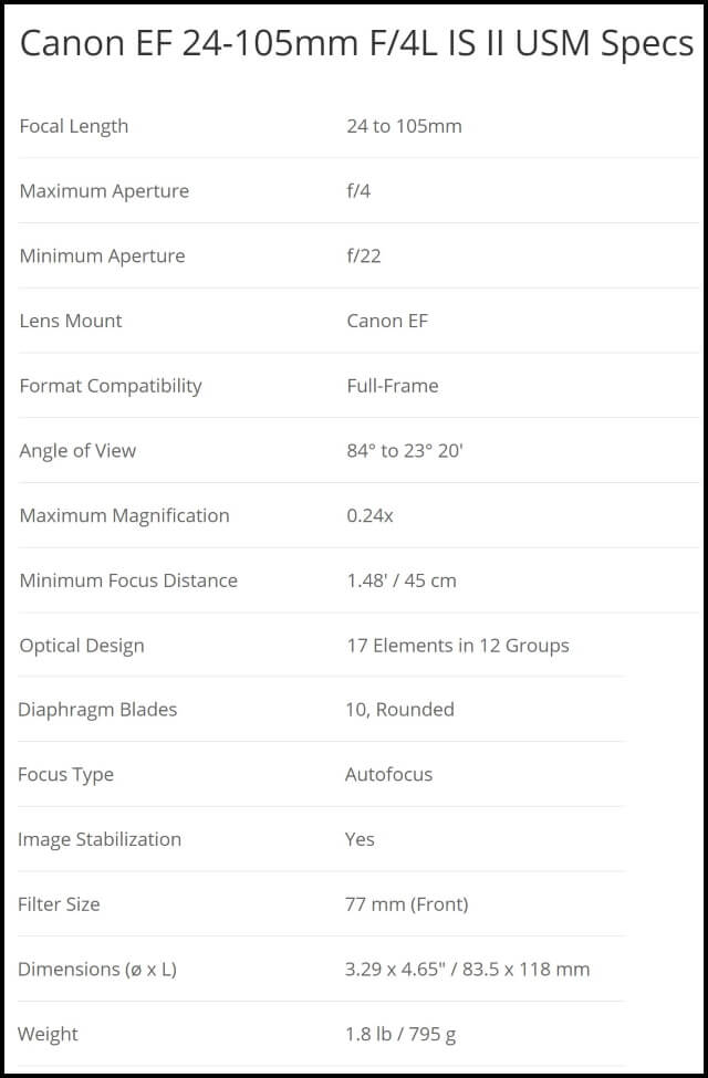 canon 24-105mm f4l is ii usm specs