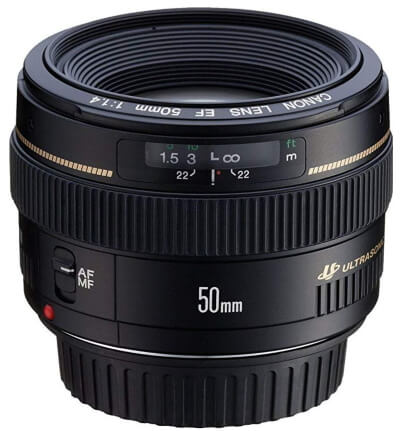 Canon EF 50mm f1.4 USM Standard & Medium Telephoto Lens for Canon SLR Cameras - Fixed