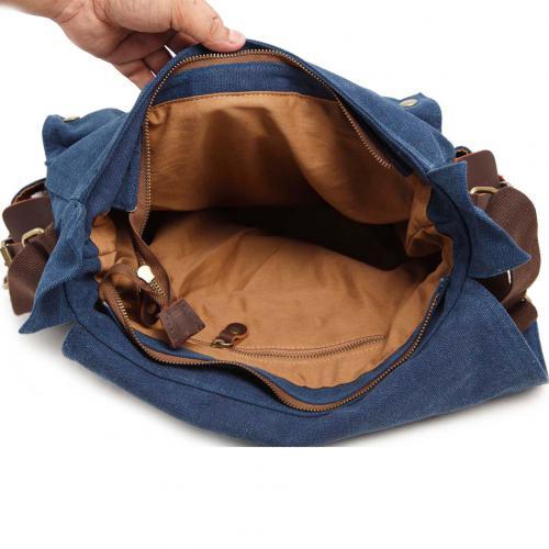 Kattee Leather Canvas Messenger Bag
